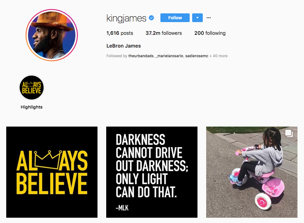 LeBron James top sports influencers