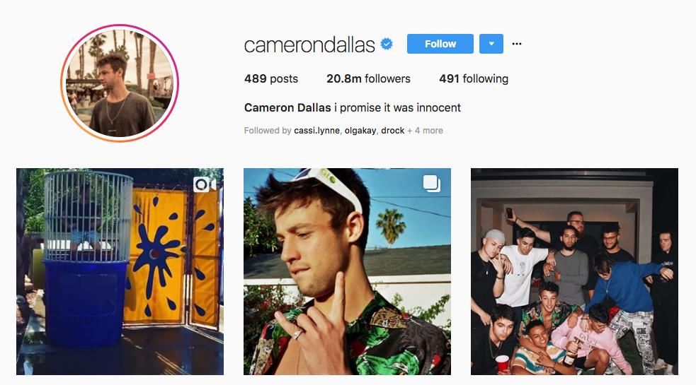 Cameron Dallas top online influencers