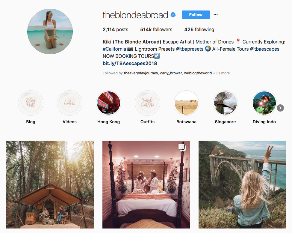 Kiki (The Blonde Abroad) hotel influencers