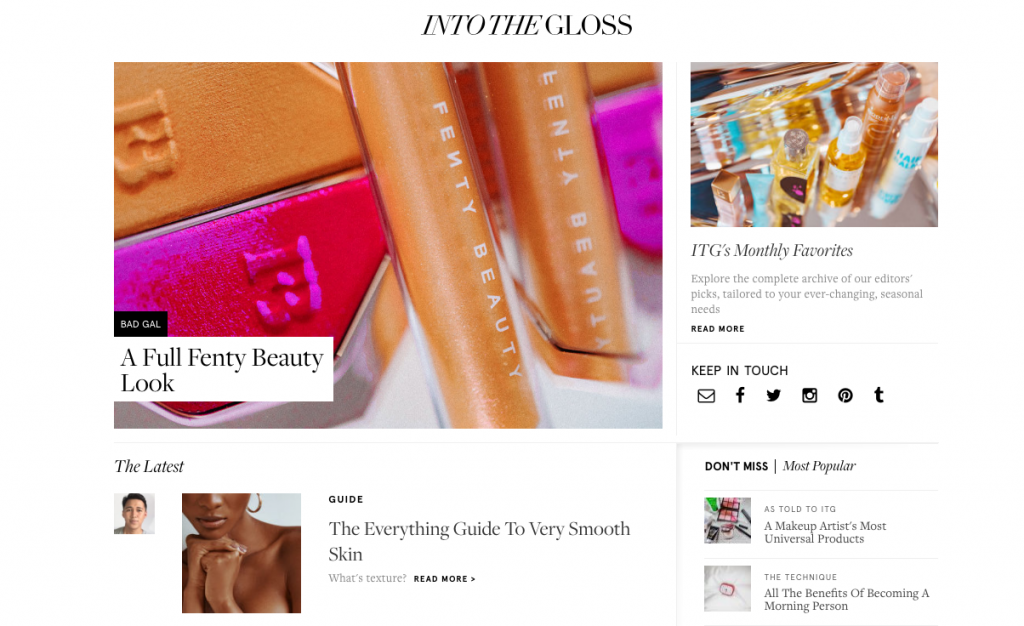 Glossier ecommerce content marketing examples