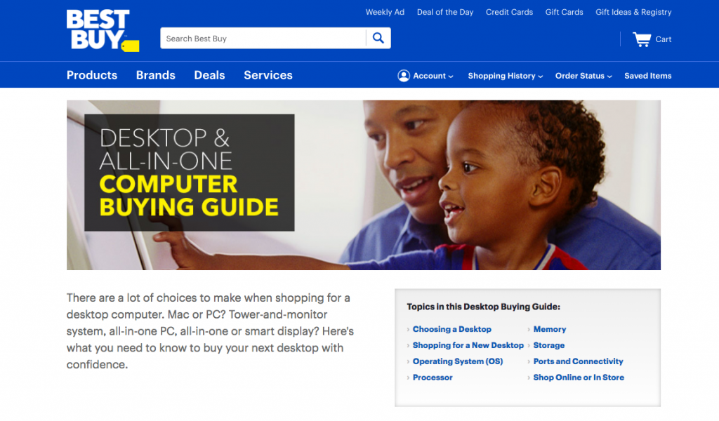 Best Buy Ecommerce Content Marketing Examples