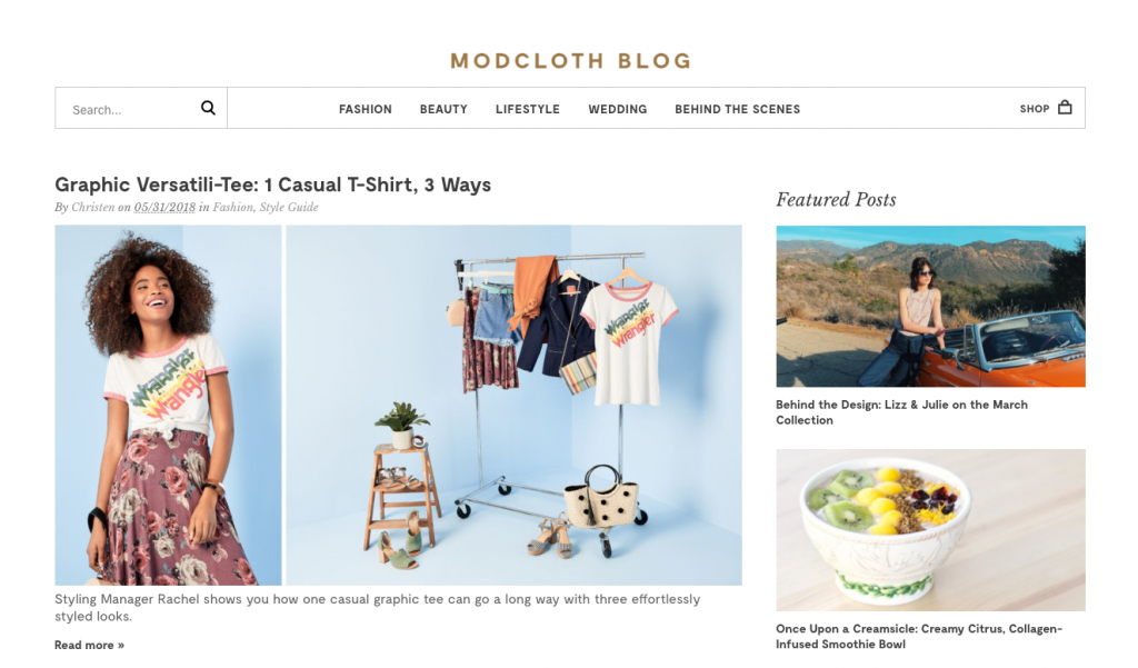 Modcloth ecommerce content marketing examples
