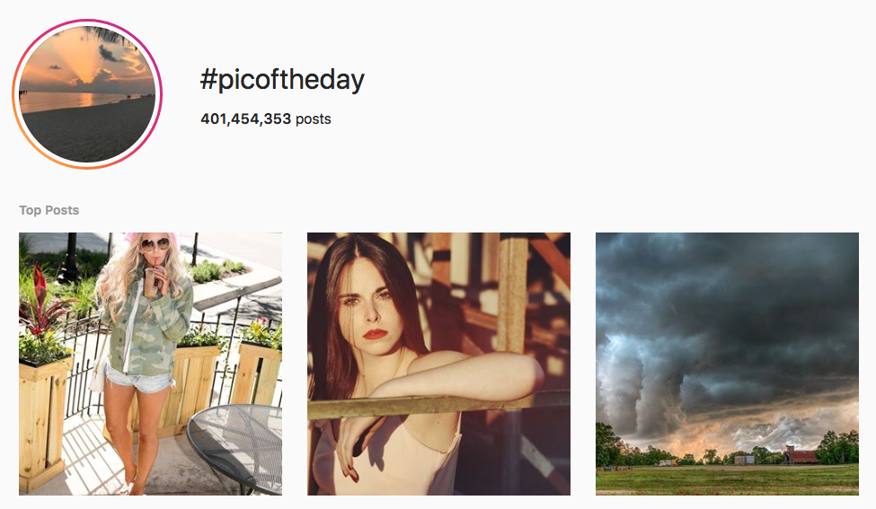 #picoftheday top instagram hashtags