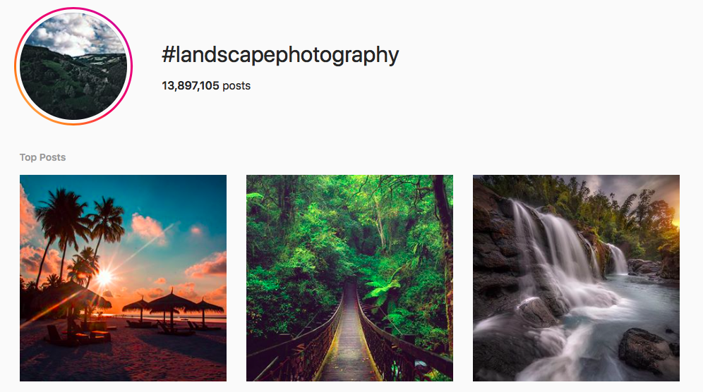 #landscapephotography best instagram photography hashtags