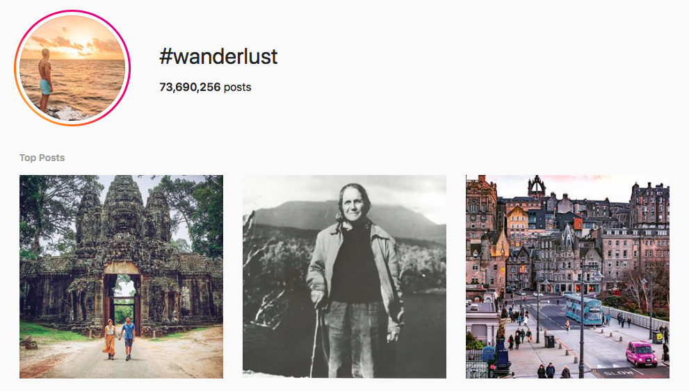 #wanderlust top travel hashtags