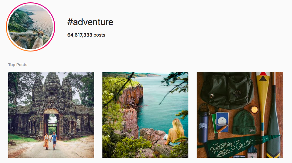 #adventure top travel hashtags