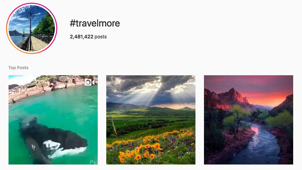#travelmore top travel hashtags
