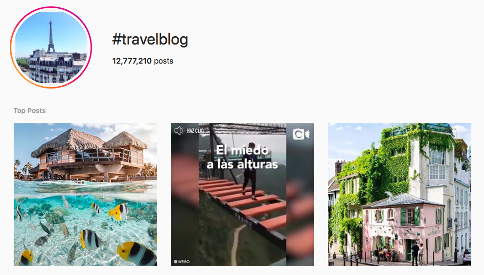 #travelblog top travel hashtags
