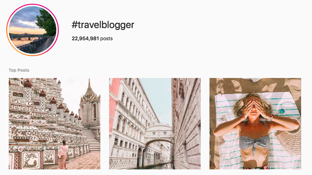 #travelblogger top travel hashtags