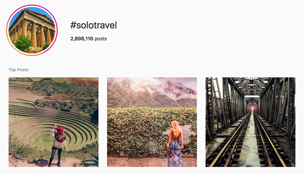 #solotravel top travel hashtags