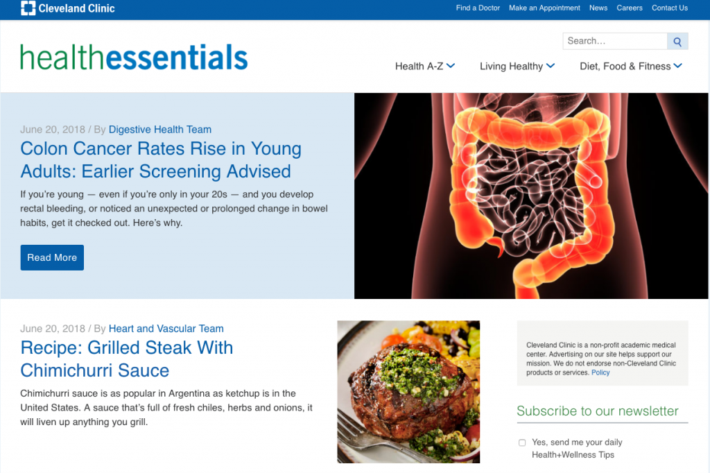 Cleveland Clinic Health Essentials Content Marketing Website Examples