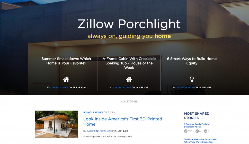 Zillow Porchlight Content Marketing Website Examples