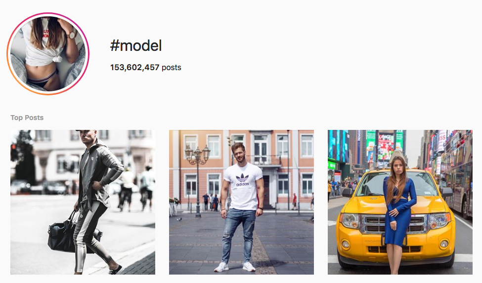 #model top instagram hashtags