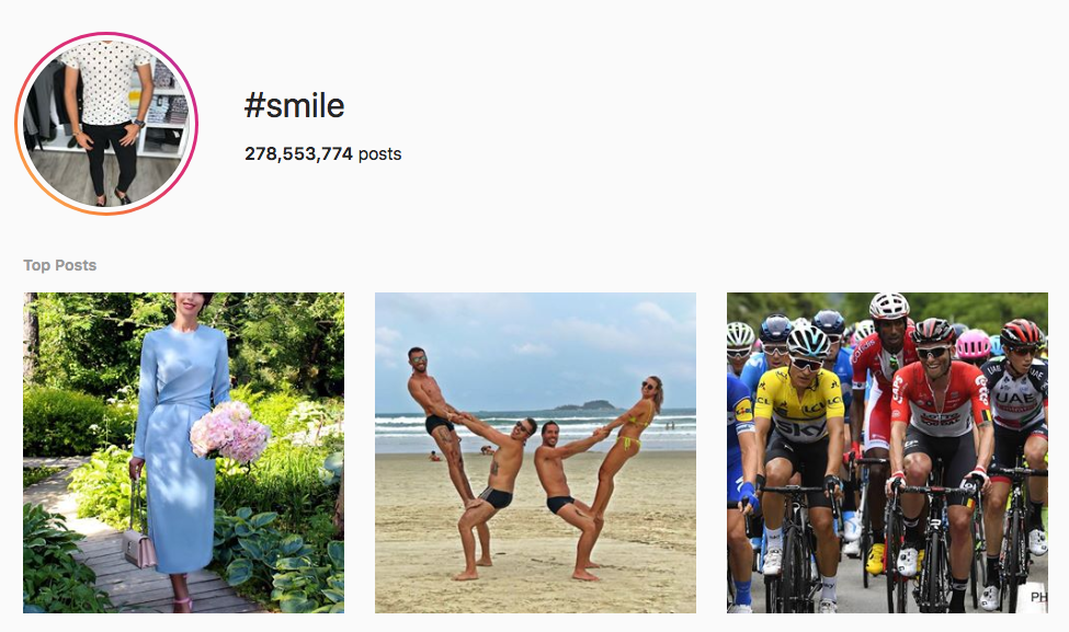 #smile top instagram hashtags