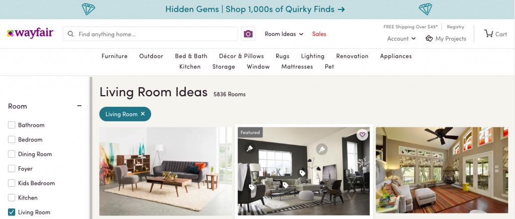 Wayfair ecommerce content marketing examples