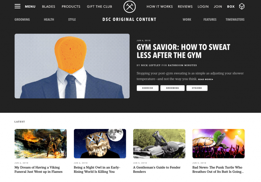 Dollar Shave Club Ecommerce Content Marketing Examples
