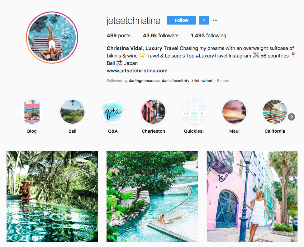 Christina Vidal, Luxury Travel hotel influencers