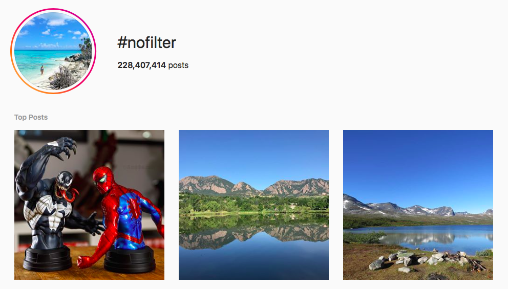 #nofilter beauty hashtags