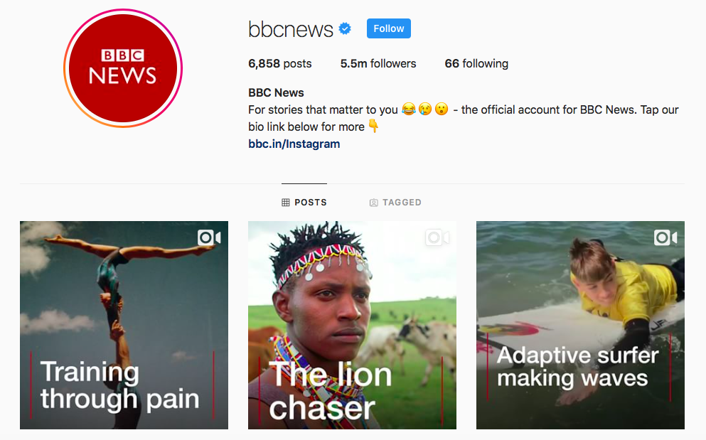 BBC News Top IGTV Channels