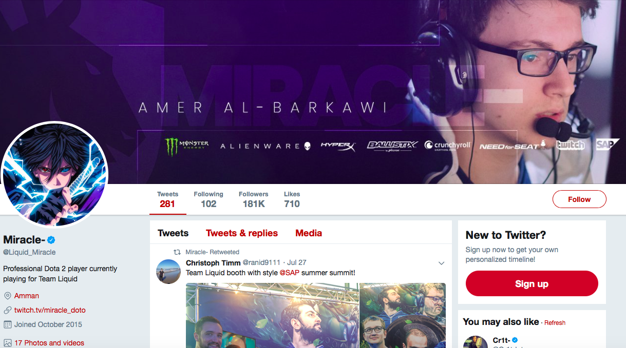 Amer Al-Barkawi top eSports Influencers