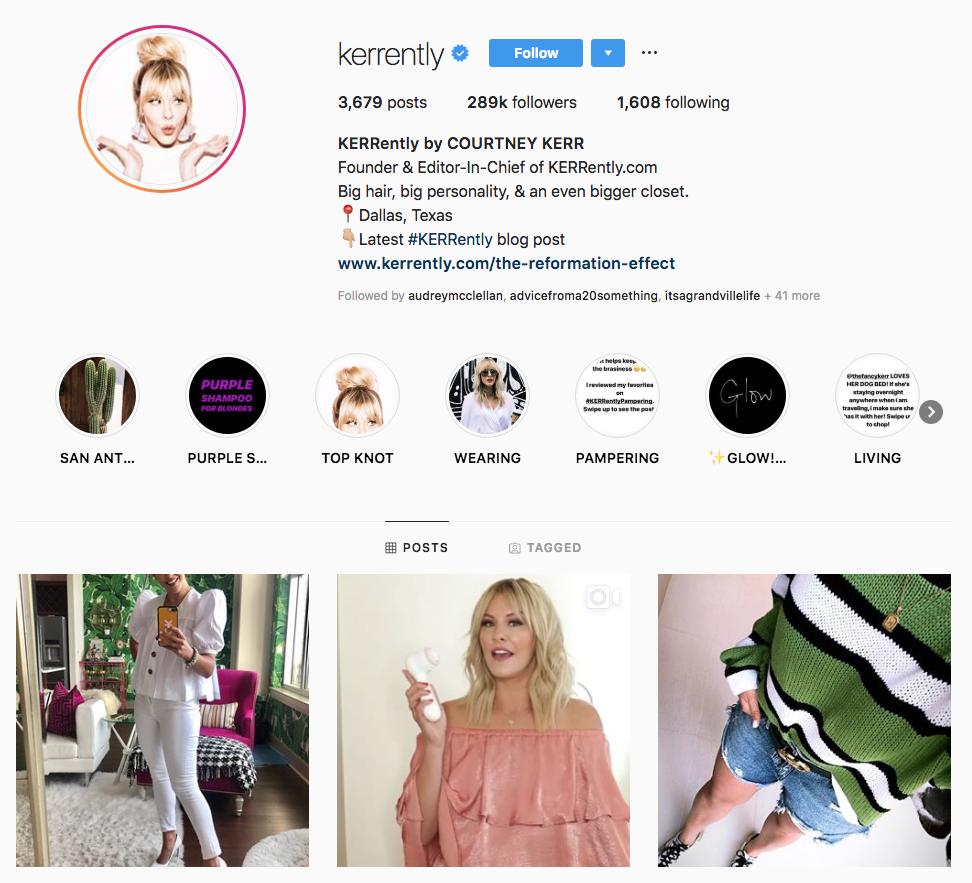 Courtney Kerr top Dallas social media influencers